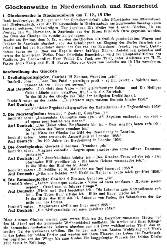 Glockenweihe in der Antoniuskapelle am 07.12.1958