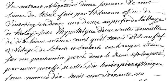 Schuldverschreibung von 1212, Regesten der Abtei Tholey, Artikel-Nr. 1861, Münchner Hauptstaatsarchiv