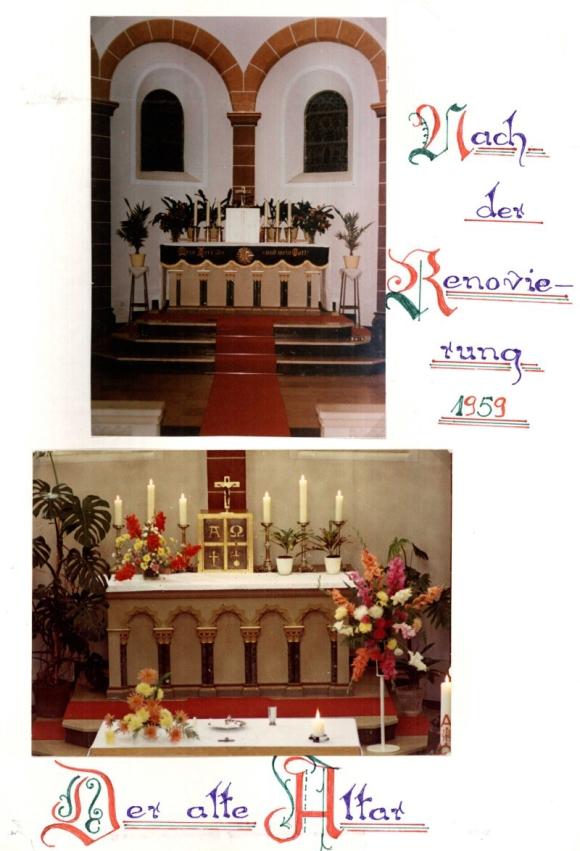 alter Altar nach Renovierung von 1959 vor Umgestaltung 1979, Foto: Jakob Britz