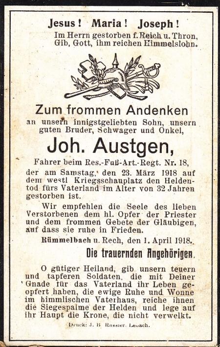 Totenbildchen von Johann Austgen