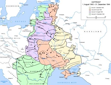 Verlauf der Ostfront 1943 - 1944 laut Wikipedia; Grafik: gemeinfrei laut Wikipedia