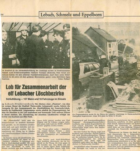 Saubacher Feuerwehr übt im September '79 nach dem Absturz der amerikanischen Phantom über Thalexweiler; Quelle: Saabrücker Zeitung