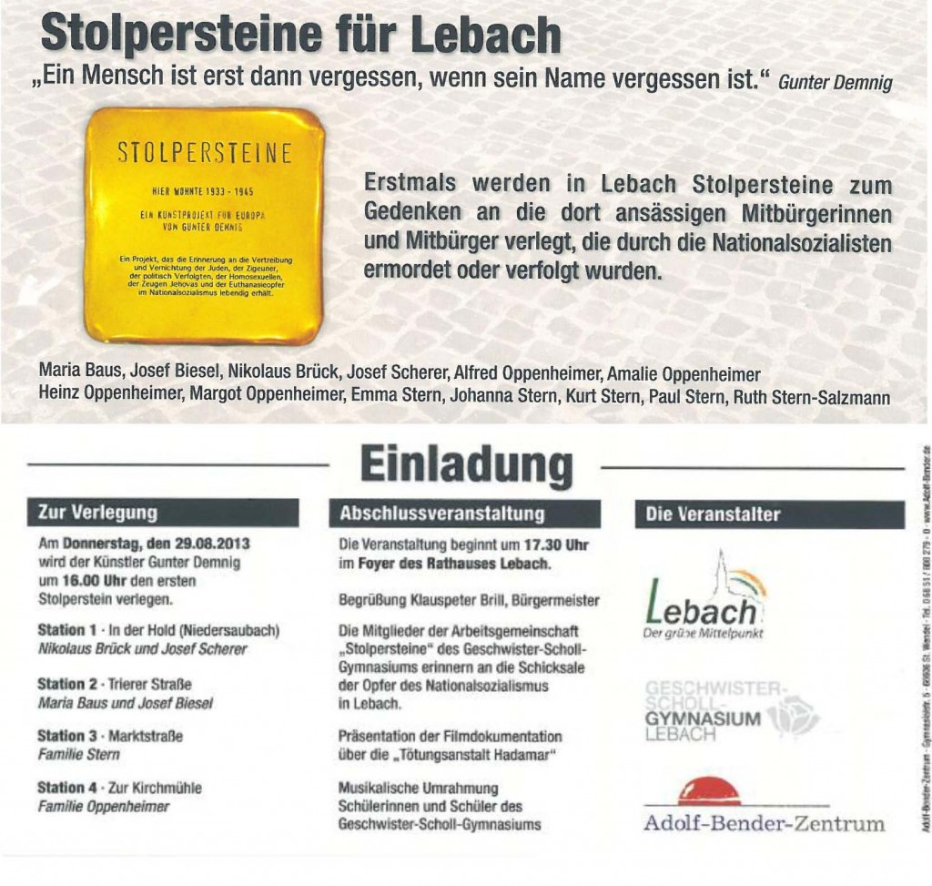 Adolf-Bender-Zentrum lädt ein zur Verlegung von Stolpersteinen in der Hold