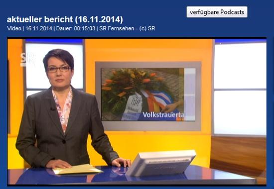 SR, Aktueller Bericht, 16. November 201, Screenshot