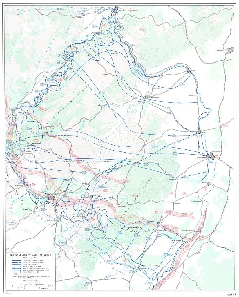 Rheinland-Kampagne, Operation Undertone, 12. - 21. März 1945, Saar-Mosel-Dreieck, Copyright: United States Army Center of Military History, gemeinfrei laut Wikipedia